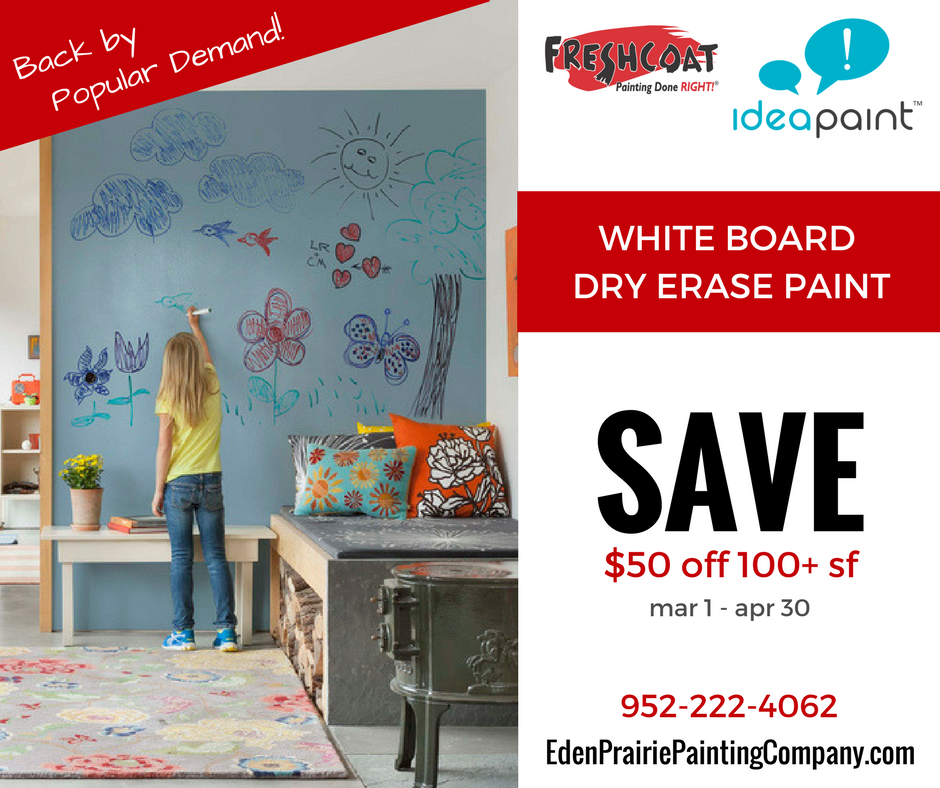 Fresh Coat Eden Prairie White Board IdeaPaint Sale 952-222-4062.2017