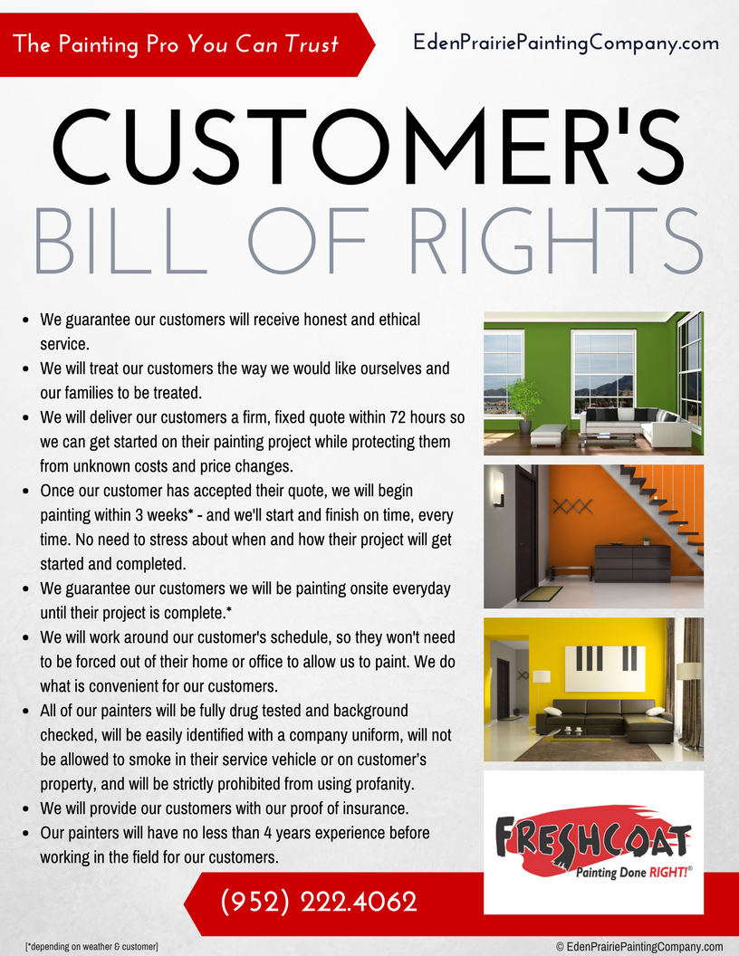 Eden Prairie Painters Customer Bill of Rights (952) 222-4062